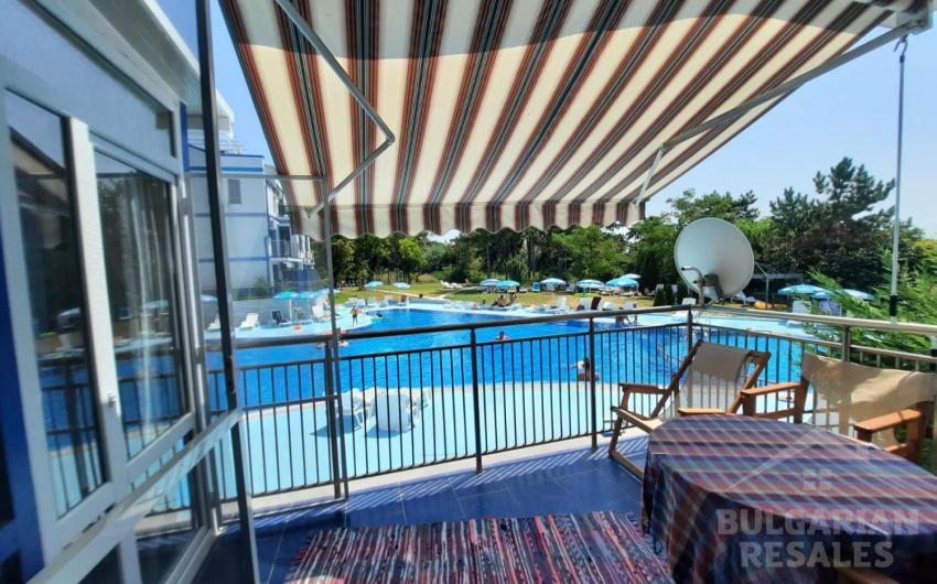 Apartment with a view of the pool and the sea in the Blue Bay Palace ID 2042, Pomorie. Photo  1